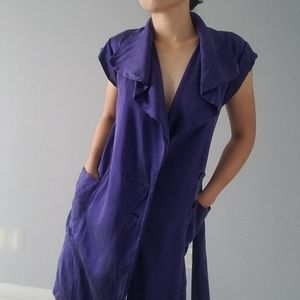 Club Monaco Purple Silk Suede Wrap Dress Robe Vest